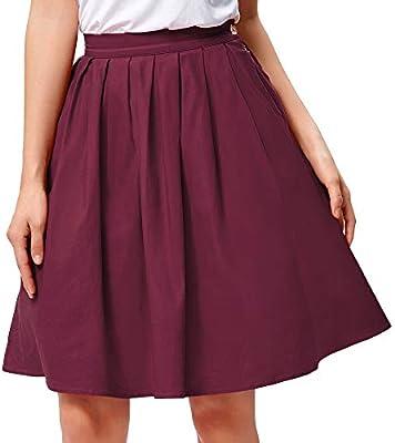 HEHEAB Falda,La Mujer Roja Jupe Verano Algodón Cintura Alta Oficina Womens Vintage Plisado Faldas Midi Skater Mini Falda Corta,L: Amazon.es: Deportes y aire libre