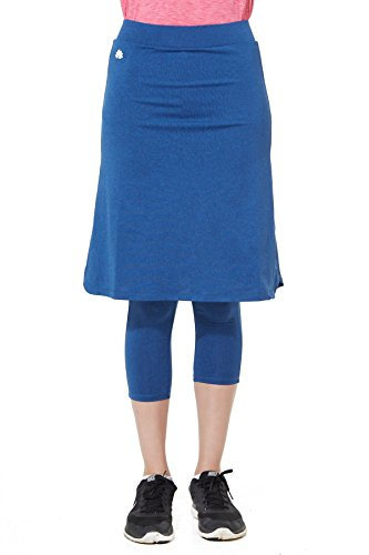 Snoga Modest Workout Athleisure Skirt 3/4 Leggings Indigo, 1X