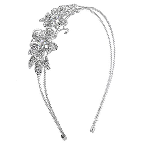 Lux Accessories Silver Tone Crystal Rhinestone Floral Flower 2 Row Coil Headband