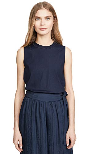 Vince Women's Linen Rib Trim Shell, Marine, Blue, XX-Small