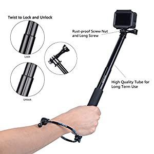Vicdozia Selfie Stick, 28.5'' Hand Grip Extendable Monopod Adjustable Pole Waterproof Handle for GoPro Hero 6/5/4/3+/3/2/1/Session SJCAM, AKASO, Xiaomi Yi, Compact Cameras/Cell Phones