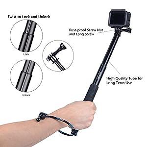 Vicdozia Selfie Stick, 28.5'' Hand Grip Extendable Monopod Adjustable Pole Waterproof Handle for GoPro Hero 6/5/4/3+/3/2/1/Session SJCAM, AKASO, Xiaomi Yi, Compact Cameras/Cell Phones