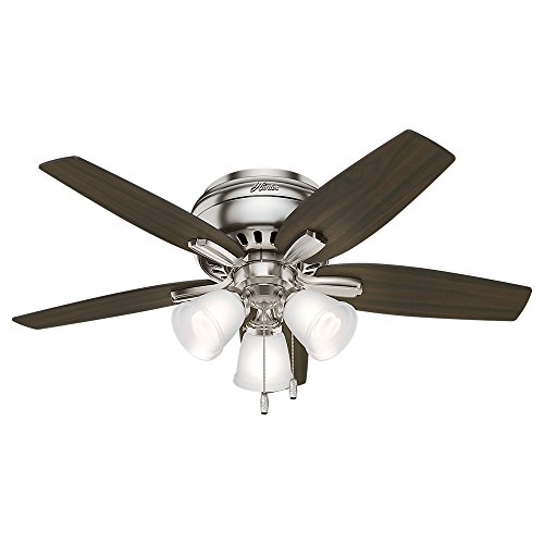 Hunter 51079 Hunter Newsome Low Profile with 3 Kit Ceiling Fan with Light, 42'', Brushed Nickel by Hunter Fan Company (Image #2)