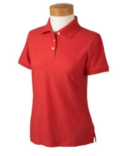 Devon & Jones Women's Short Sleeve Recycled Pima Melange Pique Polo Shirt - RED MELANGE D153WGR 2XL