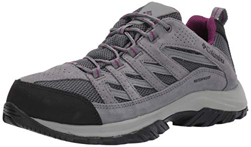 Columbia Women's Crestwood Waterproof Hiking Shoe, Graphite, Wild iris, 8.5 Regular US