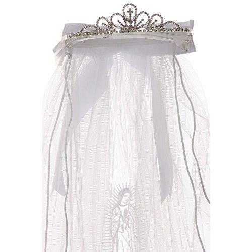 Rain Kids Girls White Virgin Mary Embroidery Communion Flower Girl Tiara Veil - Embroidery Veil