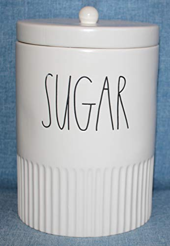 Rae Dunn SUGAR in Large Letters LL with Textured lower third and sealing lid Canister Food Storage Container Cookie Jar. New Design by Magenta.