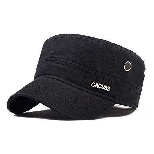 Hat Baseball Cap Cadet (CACUSS Men's Cotton Army Cap Cadet Hat Military Flat Top Adjustable Baseball Cap(Black))