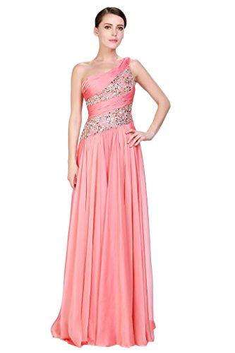 HarveyBridal Chiffon Crystal One Shoulder Formal Evening Party Dresses Coral