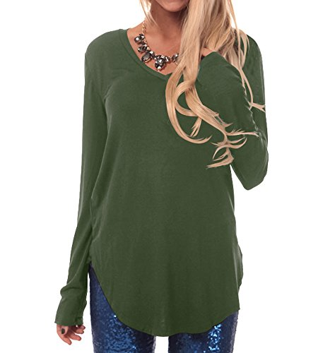 Army Green Apparel (Ladies Tunic Tops For Leggings Curved Hem Loose Blouse Solid Army Green M)