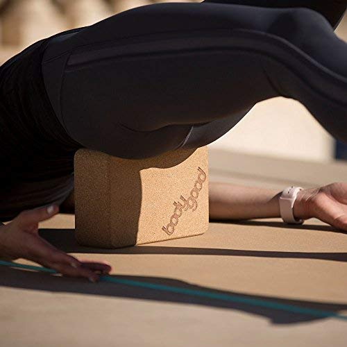 BodyGood Natural Cork Yoga Block. Dense, Durable Yoga Prop Provides Support for Balance Postures and Restorative Poses. Comfortable, Non Slip and Antimicrobial (Single)