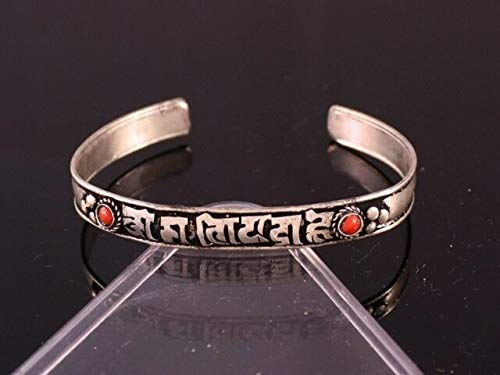 - Tibetan Dotted 2 Red Coral Gemstone Inlay Carved OM Mani Padme Hum Cuff Bracelet #ID-1101
