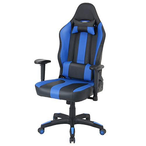 LCH Oversized Ergonomic Computer Gaming Chair High-Back Adjustable Height PU Leather Executive Office Chair with Headrest and Lumbar Support, Royal Blue (Best Gaming Chair 2019)