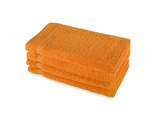 - Payam Collection Premium Turkish Bath Towel Set of 4 (Orange) 100% Organic Turkish Cotton