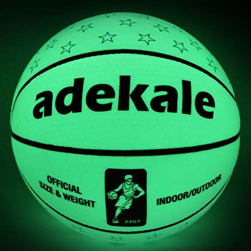 Basketball Ball,Battery-Free Light Up Basketball, PU Glow in The Dark Basketball, Fluorescent Bright after Sun Shine,Official Size& Weight (Size 7) With Pump for Man,Basketball Toy for Teen Boy]()