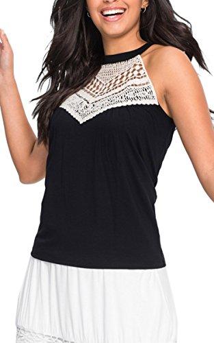 Angashion Womens Sleeveless Halter Neck Lace Splicing Tank Top Vest, Black, Large by Angashion