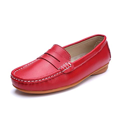 ssic Genuine Leather Penny Loafers Driving Moccasins Casual Slip On Boat Shoes Fashion Comfort Flats ()