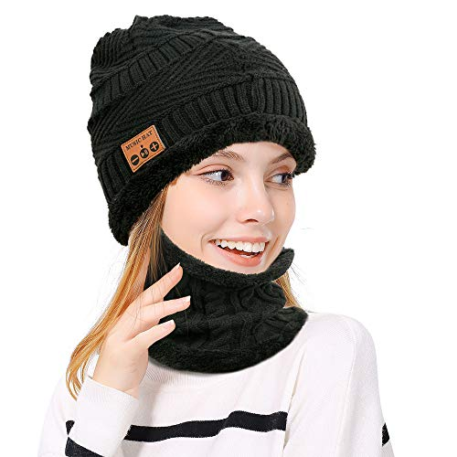 LingsFire Bluetooth Beanie Bluetooth Hat Knitted Warm Music Hat Wireless Headphones Hat and Scarf Set Winter Washable Knit Cap Built-in Microphone Beanies for Men Women Outdoor Sports Skiing Skating