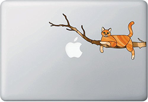 Yadda-Yadda Design Co. Orange Ginger Charming Cat on Branch - Stained Glass Style Vinyl Decal for MacBook | Laptop YYDC (8.5