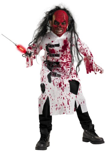 Demented Doctor Costume, Black/Red/White, -