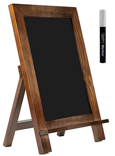 - ChalkPro Wooden Framed Standing Chalkboard Sign (Rustic Brown) + Includes White Chalk Marker | Magnetic Non-Porous Memo Board | Décor for Kitchen, Home, Bar, Countertop, Wedding, Café, and Restaurant