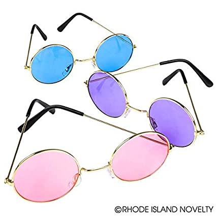 dec8b7b6d38c Amazon.com: Rhode Island Novelty John Lennon Hippy Style Sunglasses | 12  Pack | Assorted Colors |: Toys & Games