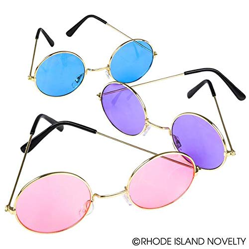 Rhode Island Novelty John Lennon Round Color Lens Sunglasses | Pack of 12 Assorted Colors ()