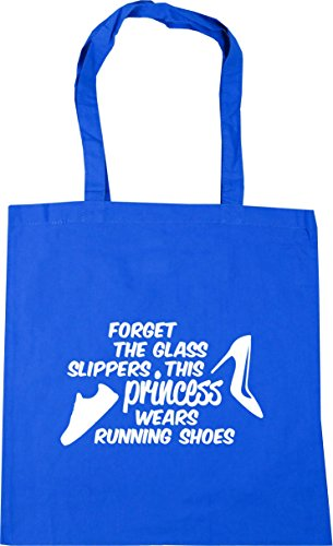 HippoWarehouse Forget the glass slippers this princess wears running shoes Tote Shopping Gym Beach Bag 42cm x38cm, 10 litres Cornflower Blue