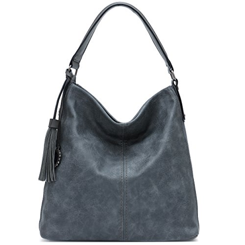 Women PU Leather Handbags Big Hobos Shoulder Purse Totes Crossbody Bags (Grey) by Yojoy