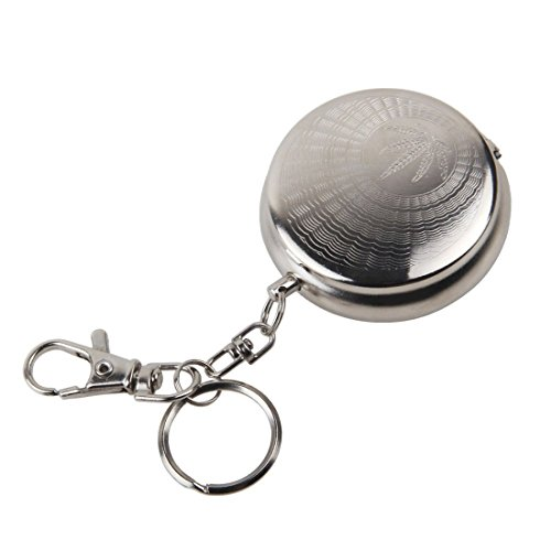 Circular Ashtray - TOOGOO(R)Stainless Steel Portable Circular Ashtray (With keychain)-Silver Random pattern (Ash Tray Key Chain)