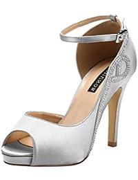 Women Peep Toe Side Open Rhinestones Comfortable Platform...
