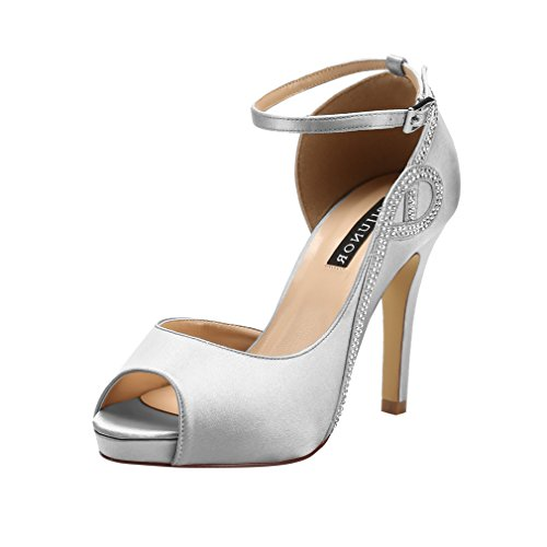 (ERIJUNOR E8816 Women Peep Toe Side Open Rhinestones Comfortable Platform Satin Bridal Wedding Party Shoes Silver Size 9)