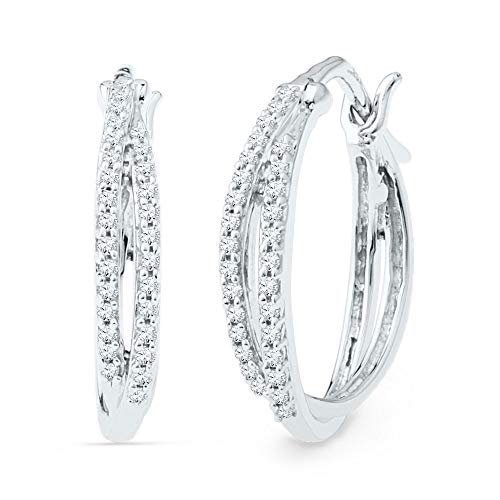 The Diamond Deal 10kt White Gold Womens Round Diamond Double Row Hoop Earrings 1/4 Cttw