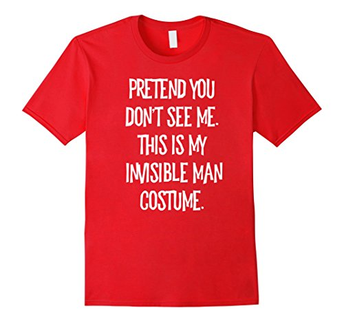Red Invisible Man Costume (Mens Pretend You Don't See Me Invisible Man Halloween Costume Medium Red)