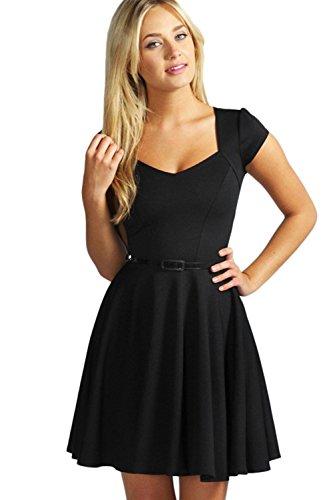 Sexy Kurzarm Swing Kleid mit Gürtel für Damen Black
