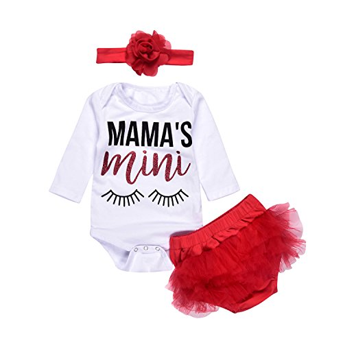 3Pcs Baby Girls Mama's Mini Lashes Print Long Sleeve Bronzing Romper+Short Lace Bottom+Headband Clothes (0-3Months, White&Red)