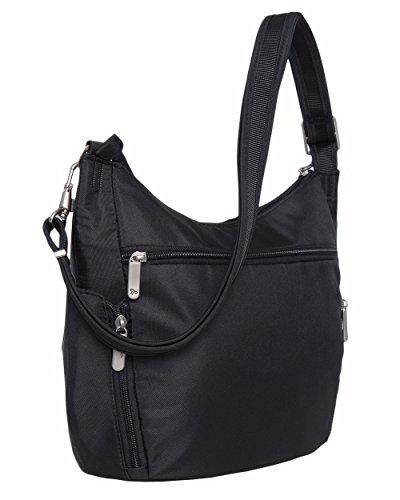 Travelon Anti-Theft Classic Crossbody Bucket Bag (One Size, BLACK w/Purple Lining) by Travelon (Image #1)
