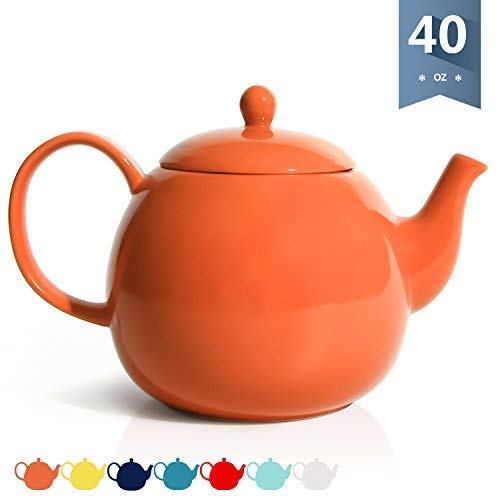 Sweese 2316 Porcelain Teapot, 40 Ounce Tea Pot - Large Enough for 5 Cups, Orange