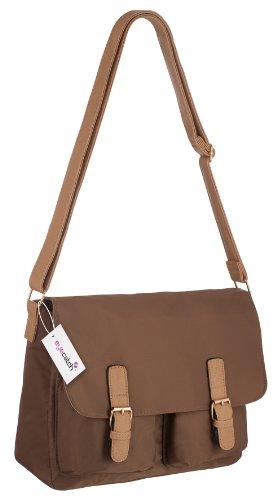 EyeCatch - London Womens Shoulder Bag Handbag Ladies Satchel Brown