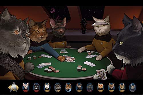 Pyramid International Star Trek Cats Playing Poker Poster 36x24 inch