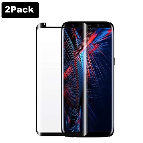 Galaxy S8 Screen Protector ,(2-PACK)3D Curved Dot Matrix Screen Samsung Galaxy S8 [9H Hardness] [High Definition] Tempered Glass Screen Protector (5.8″)2018, Easy Installation(NOT S8 Plus) (S8/2Pack)