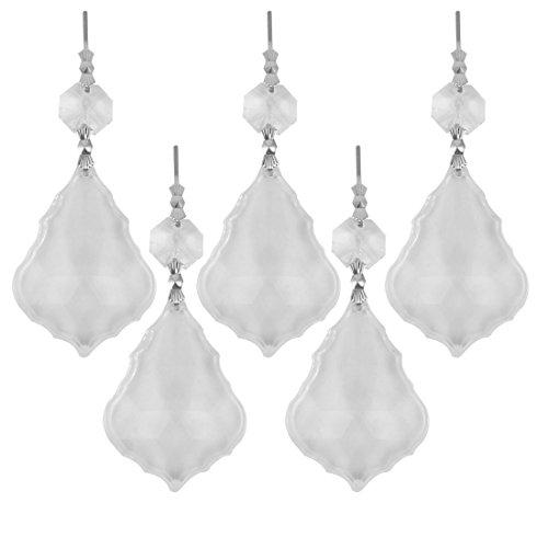 Leaves 5 Light Chandelier - uxcell Plastic Household Bedroom Leaf Shaped Sparkling Chandelier Crystal Pendant 5 Pcs