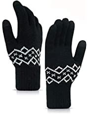 HONYAR Mens Womens -20°F(-29℃) Thickened Knit Winter Warm Gloves for Extreme Cold Weather Under Zero with Touchscreen