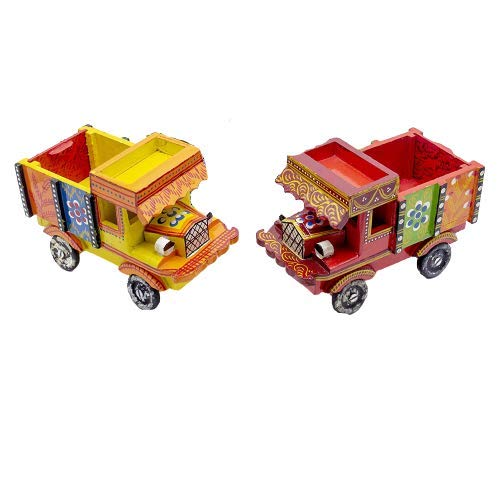 The Bling Stores Handmade Indian Handicraft Colorful Push and Pull Toys Wooden Truck Vehicle for Kids or Home Decor…