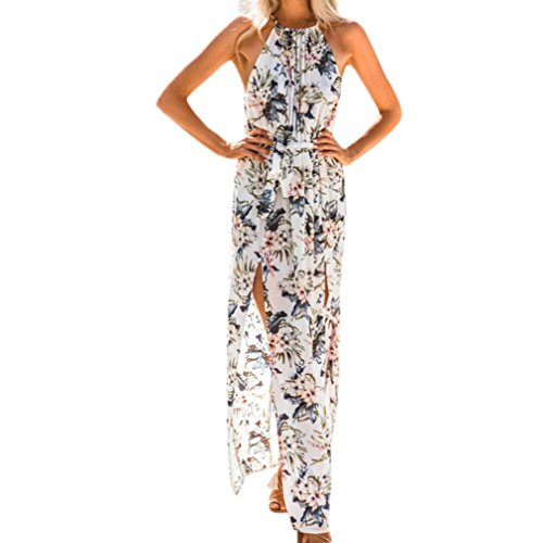 Forthery Womens Vintage Halter Chiffon Floral Print Summer Beach Long Maxi Dress (White, (Split Neck Sweater Dress)