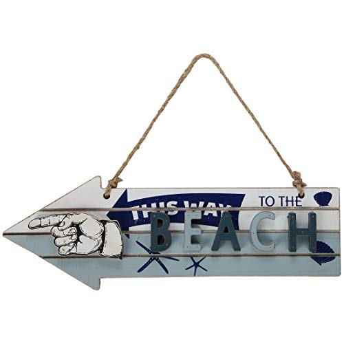 Lily's Home Vintage Beach Decor, Arrow Sign, 'This Way to The Beach' House Decoration
