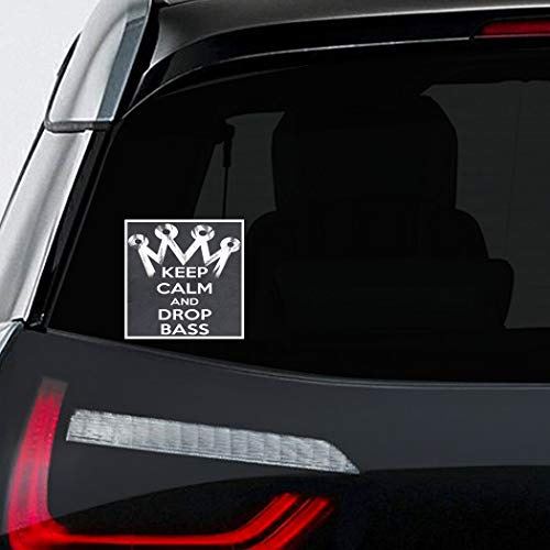Makoroni - KEEP, CALM, AND, DROP, BASS Car Laptop Wall Sticker Decal - 4.5'by4.5'(Small) or 7'by7'(Large) (Drop The Bass Decal)