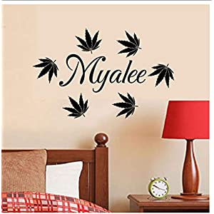 Buzdao Wall Decals Kids Room Maple Leaves Personalized Custom Name Wall Stickers Baby Girls Bedroom Decor Custom Design Home Art Mural 58X24Cm