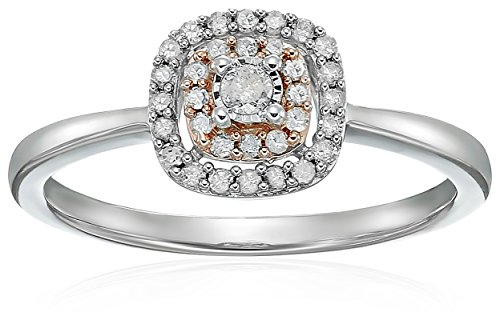 Sterling Silver with Pink Plating, Diamond Ensemble Anniversary Ring (1/5 cttw,I-J Color, I3 Clarity), Size 7 by Amazon Collection