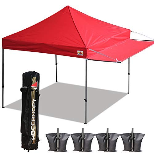 ABCCANOPY 10x10 Tent Pop-up Canopy Tent Instant Canopies Commercial Outdoor Canopy with Awning & Wheeled Carry Bag Bonus 6X Weight Bag, (Red)